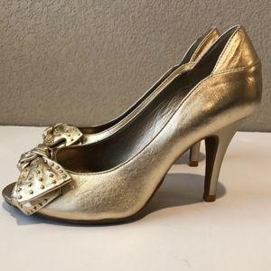 Gianni Bini Gold Peep-toe Heels